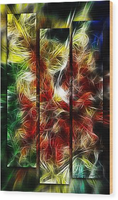 Wood Print featuring the digital art Fire Dancers Triptych by Selke Boris