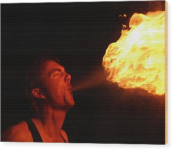 Fire Demon Wood Print by Rowana Ray