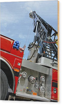Fire Engine Wood Print by Olivier Le Queinec