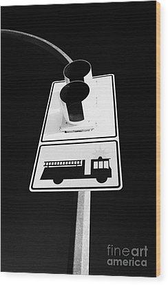 fire engine stop sign and signal Saskatoon Saskatchewan Canada Wood Print by Joe Fox