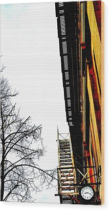 Fire Escape And Clock - Ontario - Canada Wood Print