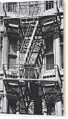 Fire Escape Wood Print by Larry Butterworth