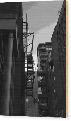 Wood Print featuring the photograph Fire Escape by Terri Harper
