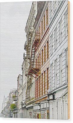 Fire Escapes New Orleans Wood Print by Christine Till