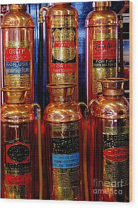 Fire Extinguishers 2 Wood Print by Tim Townsend