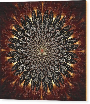 Fire Glyph Wood Print by Anastasiya Malakhova