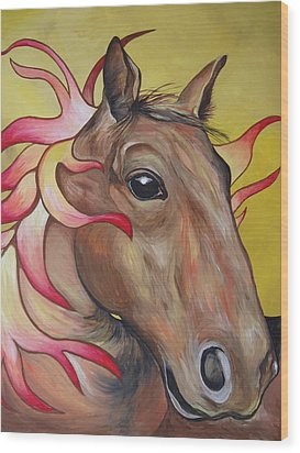 Fire Horse Wood Print by Leslie Manley