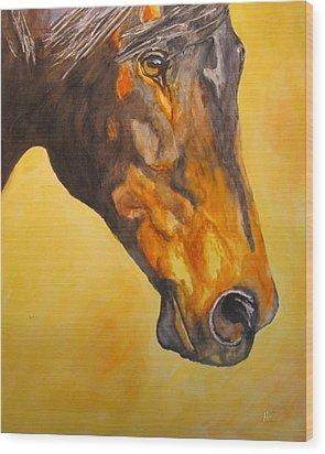 Fire Horse Wood Print by Maris Sherwood