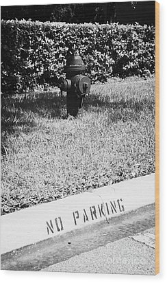 Fire Hydrant No Parking Curb In Residential Area Of Celebration Florida Usa Wood Print by Joe Fox