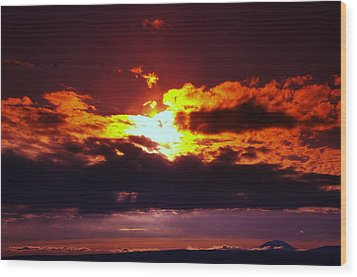 Fire In The Clouds Wood Print by Jeff Swan