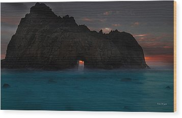 Fire In The Hole.... Big Sur Wood Print by Tim Bryan