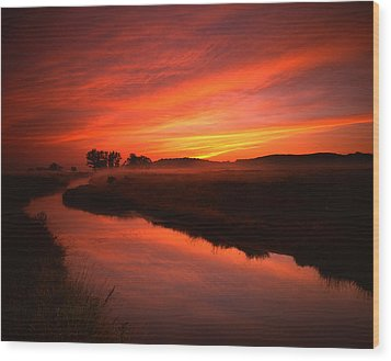 Fire In The Sky Wood Print by Ray Mathis