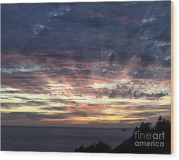 Fire In The Sky Wood Print by Sandra Bronstein