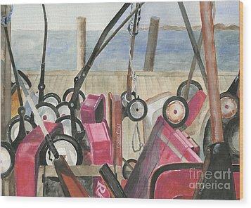 Fire Island Wagon Parking Wood Print by Sheryl Heatherly Hawkins