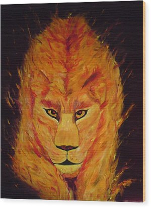 Wood Print featuring the painting Fire Lioness by Persephone Artworks