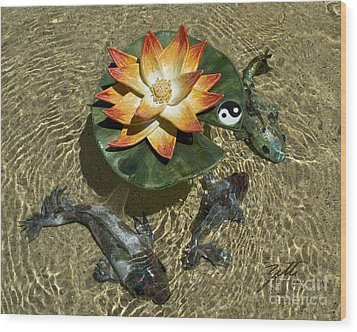 Wood Print featuring the sculpture Fire Lotus With Dragon Koi by Suzette Kallen