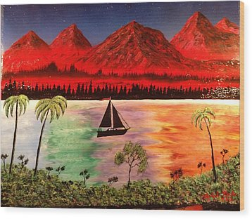Wood Print featuring the painting Fire Mountain by Michael Rucker
