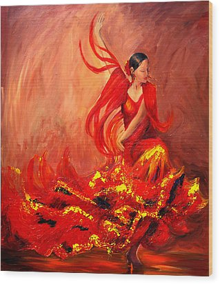 Wood Print featuring the painting Fire Of Life Flamenco by Sheri  Chakamian