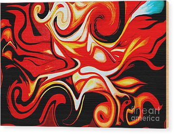 Fire Of Love - Abstract Oil Painting Original Modern Contemporary Art House Wall Deco Wood Print by Emma Lambert