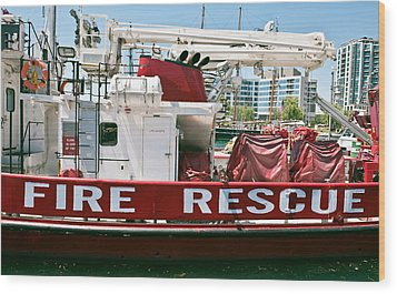 Wood Print featuring the photograph Fire Rescue Boat by Marek Poplawski