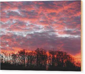 Fire Sky Wood Print by Cleaster Cotton