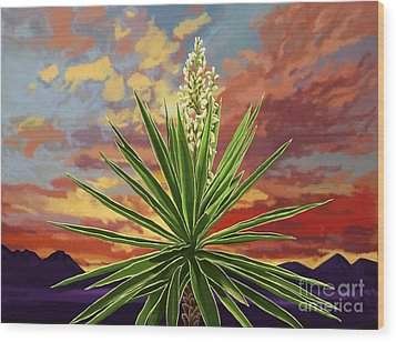 Fire Sky Desert Blooming Yucca Wood Print