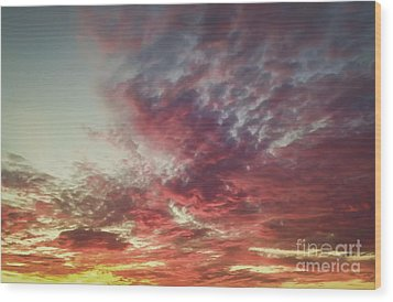 Fire Sky Wood Print by Holly Martin