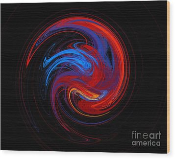 Fire Sphere Wood Print by Andee Design