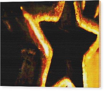 Fire Star Wood Print by Rebecca Flaig