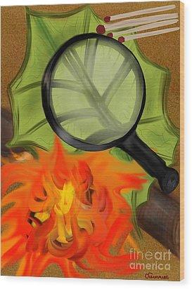Fire Starter Wood Print by Christine Fournier
