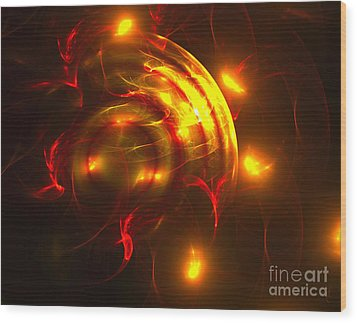 Wood Print featuring the digital art Fire Storm by Victoria Harrington