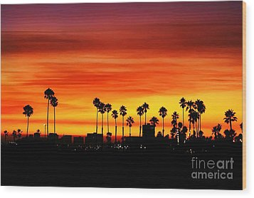 Wood Print featuring the photograph Fire Sunset In Long Beach by Mariola Bitner