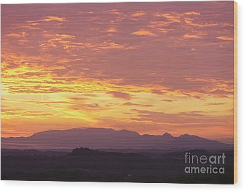 Fire Sunset Over Smoky Mountains Wood Print by Kay Pickens