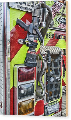 Fire Truck - Keep Back 300 Feet Wood Print by Paul Ward