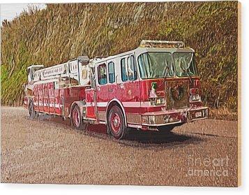 Fire Truck Ladder Unit. Wood Print