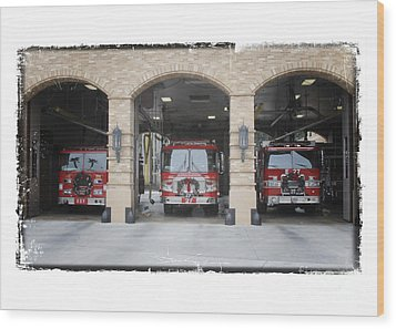 Fire Trucks At The Lafd Fire Station Are Decorated For Christmas Wood Print by Nina Prommer