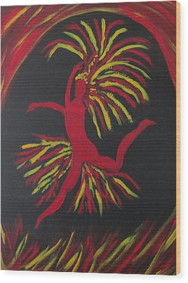 Firebird Wood Print by Sharyn Winters
