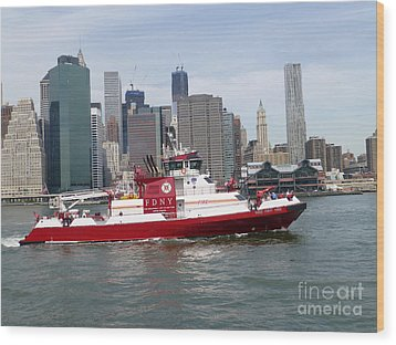 Fireboat Three Forty Three  Fdny With The Nyc Skyline Wood Print