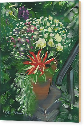 Wood Print featuring the painting Firecracker Peppers by Jean Pacheco Ravinski