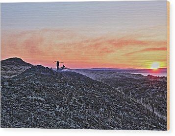 Firefighter At Sunset Wood Print by Tony Reddington