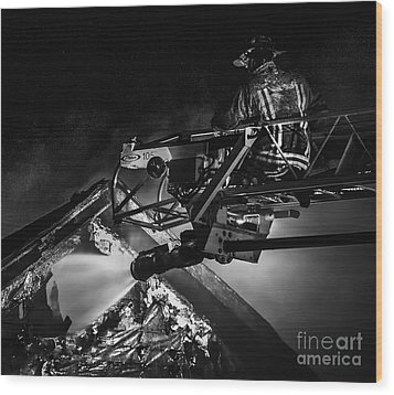 Firefighter At Work Wood Print