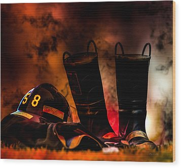 Firefighter Wood Print by Bob Orsillo