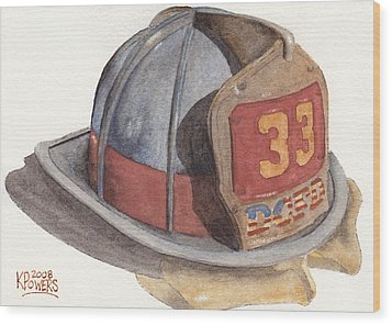 Firefighter Helmet With Melted Visor Wood Print by Ken Powers