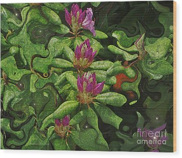Fireflies And Flowers Wood Print by Kathie Chicoine