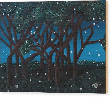 Fireflies Wood Print by Cheryl Bailey