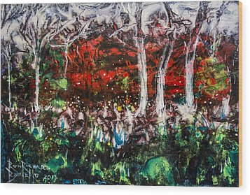 Wood Print featuring the painting Fireflies by Ron Richard Baviello