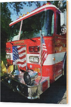 Fireman - Front Of Fire Engine Wood Print by Susan Savad