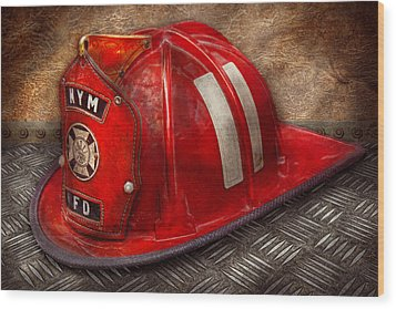Fireman - Hat - A Childhood Dream Wood Print by Mike Savad