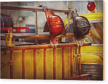 Fireman - Hat - Waiting For A Hero  Wood Print by Mike Savad