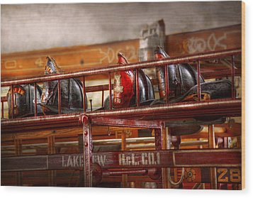 Fireman - Ladder Company 1 Wood Print by Mike Savad